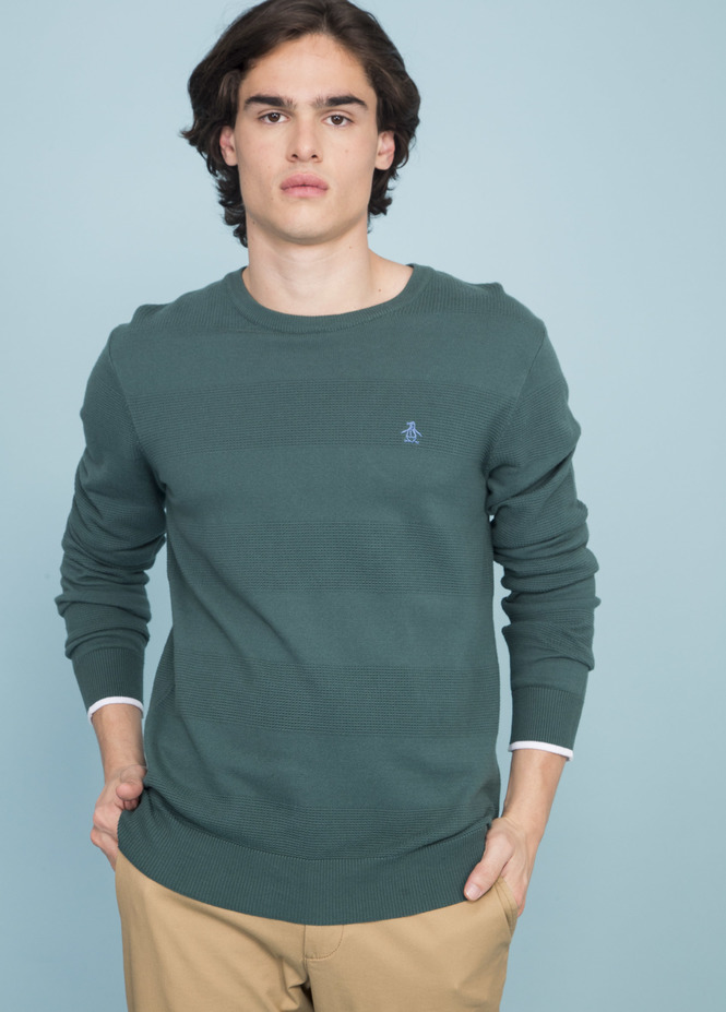 POINT STRIPE CREW SWEATER