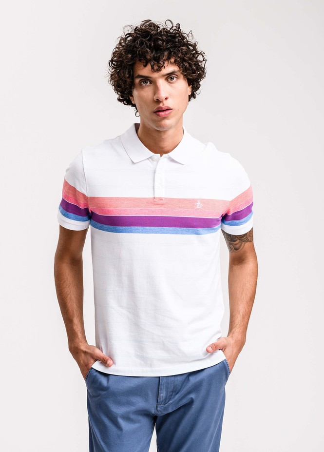 Ss Engineered Rainbow Stripe Polo
